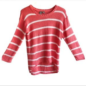 Quinn Knit Scoop Neck Striped High Low Sweater L